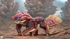 Creature Design - Scaly Omnivore by DeivCalviz on DeviantArt Mythical Creatures Art, Alien Creatures, Magical Creatures, Fantasy Creatures, Alien Concept Art, Creature Concept Art, Fantasy Monster, Monster Art, Creature Feature