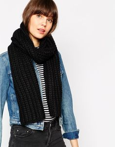 Scarf by Selected Chunky knit Ribbed finish Hand wash 70% Acrylic, 30% Wool
