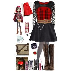 Inspired by Cerise Hood from Ever After High :) by crazydirectionergirl on Polyvore featuring Boohoo, H&M, John Fluevog, Brahmin, Murati, Jocasi, Barbara Bui, Colorescience, Rimmel and Camp