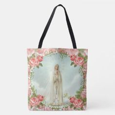 Our Lady of Fatima Pink Roses Tote Bag #SHOWEROFROSESSHOPPE