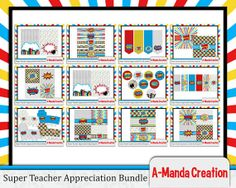 Super Teacher Super Hero Teacher Appreciation Printable Bundle, includes 17 different printables to make teacher appreciation week a super spectacular!  Great printable gift ideas and teacher appreciation luncheon items as well!