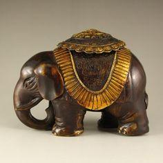 Vintage China Gilt Gold Bronze Elephant Incense Burner