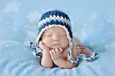 Baby Boy Hat, Newborn Baby Boy Crochet Hat in Blue, Navy and White Earflap, Great for Photo Prop. $20.00, via Etsy.