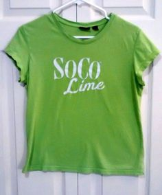 SOCO LIME Ladies XL Vintage Soft Green Short Sleeve Comfy Cotton Tee #Alternative #EmbellishedTee $2 @Ebay
