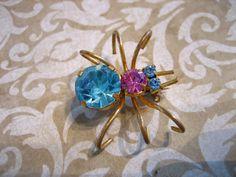 Vintage Rhinestone SPIDER Pin / Brooch Austria by charmingellie, $38.00