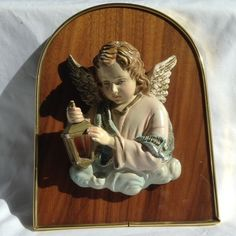 Vintage DEPOSITATO Made in Italy 3D Cherub with Lamplight hanging wood plaque