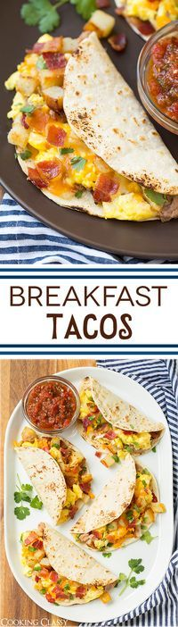 Breakfast Tacos with Fire Roasted Tomato Salsa - Definitely a favorite comfort food around here! Can sub a package of frozen diced potatoes but the homemade refried beans are a must in my opinion! Same recipe works for burritos too.