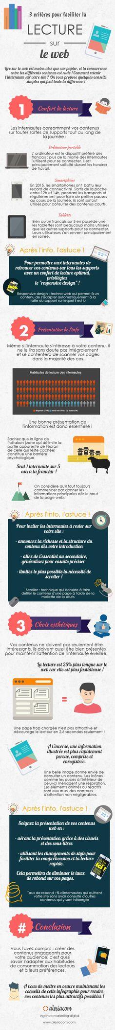 #Infographie : 3 critères pour faciliter la lecture sur le #web                                                                                                                                                                                 Plus