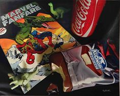 Marvel Fanfare 'Spiderman' Limited Edition Reproduction on Canvas of the Original Oil Painting: Signed, Numbered, Certificate of Authenticity: Comic Book, Klondike bar, Coca-Cola, Ready to Hang, Gift