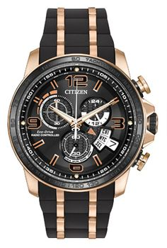 Citizen Men's Eco-Drive Chrono-Time A-T Rose Gold-Tone Stainless Steel and Black Polyurethane Strap Watch - Limited Edition - Watches - Jewelry & Watches - Macy's Fossil Watches, Cool Watches, Men's Watches, Citizen Titanium Watch, Citizen Dive Watch, Titanium Watches, Limited Edition Watches, Rubber Watches, Citizen Eco