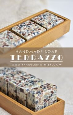 Thanks to the rediscovered terrazzo look, this soap is almost becoming a trend accessory for the bathroom. Naturally colored with cocoa and coal. soapSelma Völker selmavlker Soap Thanks to the redi Terrazzo, Diy Beauté, Homemade Soap Recipes, Soap Packaging, Soap Labels, Easy Diy Gifts, Kakao, Handmade Soaps, Handmade Ideas
