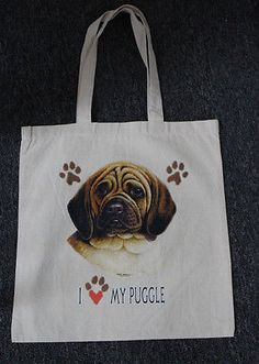 Medium Sized I Love My Puggle Dog Canvas Tote Bag Shopping Grocery Reusable