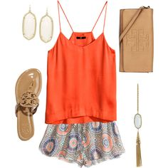 Polyvore featuring H&M, Tory Burch and Kendra Scott