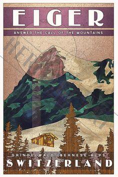 Switzerland Eiger- Vintage Travel Poster