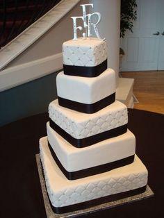 Cake, White, Black, Elegant, Monogram, Tall, The makery, 5-tier, Rotating