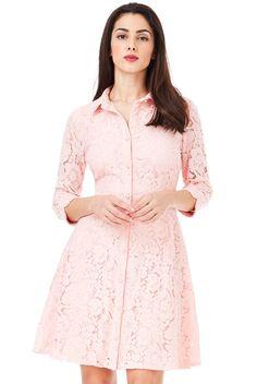 Anita φόρεμα πουκάμισο δαντελα σε παστέλ ροζ χρώμα Dresses With Sleeves, Long Sleeve, Pink, How To Wear, Fashion, Moda, Sleeve Dresses, Long Dress Patterns, Fashion Styles