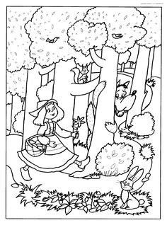 Coloriages à imprimer - Le Petit Chaperon rouge #60 (Dessins Animés) Coloring Books, Coloring Pages, Charles Perrault, Wolf, Rainy Day Activities, Red Riding Hood, Nursery Rhymes, Little Red, Hand Embroidery
