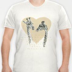 Giraffes love G055bis T-shirt by S-Schukina - $18.00