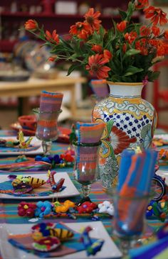 Are you on our email list? For beautiful Mexico inspirations like this Mexican Summer Table, sign up at our website, http://www.ZinniaFolkArts.com