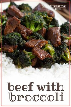 Beef slices with broccoli in a soy-based sauce served over white rice on a white plate with chopsticks to the side and tetxt Beef with Broccoli - Add Salt & Serve Crockpot London Broil, London Broil Recipes, Cooking London Broil, Skirt Steak Recipes, Easy Steak Recipes, Ground Beef Recipes, Easy Dinner Recipes, Asian Recipes, Leftover Steak Recipes