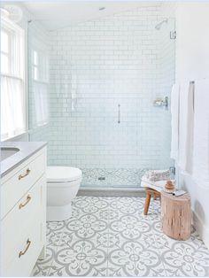 Small Bathroom Decor Ideas for a Stylish Small Bathroom Design Upstairs Bathrooms, Downstairs Bathroom, Bathroom Renos, Laundry In Bathroom, Bathroom Flooring, Bathroom Interior, Small Bathroom, Morrocan Tiles Bathroom, Grey Floor Tiles Bathroom