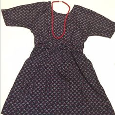 """Retro-vibe Navy Dress size small I'm in love with this delicate heart pattern.  Gathered detail at waist. U-back. Rear zipper. 100% polyester. Armpit to armpit approx 16"""".  Length 32"""" Xhilaration Dresses"""