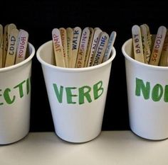 FUN WORD GAME... student comes up and picks a stick out of your hand and they have to place it in the right cup... They can use the word in a sentence as part of the ... Teaching Grammar, Teaching Language Arts, Teaching Writing, Speech And Language, Teaching English, Teaching Ideas, Primary Teaching, Primary English, Grammar Lessons