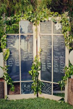 Doors used as seating charts for a wedding, but you could also have these in the garden just look pretty and maybe even map out an entire bed on each door!