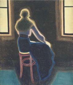 """Léon Spilliaert, """" Jeune femme de dos assise sur un tabouret"""" (1909)"""