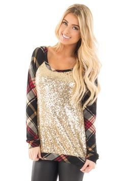 Gold Sequin Top with Red and Black Plaid Contrast front close up