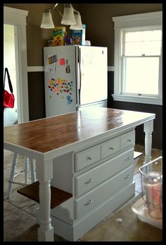 Small Town Small Budget: Custom Kitchen Island Farm table and old dresser! Dresser Kitchen Island, Diy Kitchen Island, New Kitchen, Kitchen Decor, Kitchen Rustic, Kitchen Ideas, Kitchen Small, Kitchen Layouts, Small Kitchen Islands