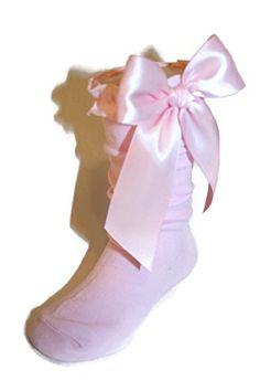 6ac292094 Girls Knee High Socks Knit Ruffle Large Satin Bows assort... https