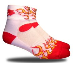 RHINO SOCKS SS series, Flame Broiled, white/red, anklet sports cycling biking hiking running socks $5.99