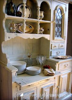 Incredible vintage hutch transformation in Old White - Clear Waxed