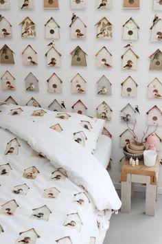 Behang & Dekbed vogelhuisjes Studio ditte
