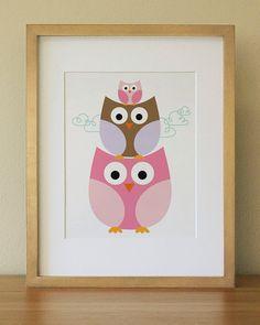 Owl  Baby Nursery Wall Art   Children Wall Art by Lulliloola, $20.00