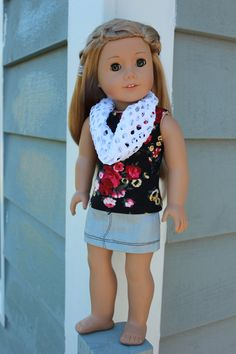 black floral knit tank top , grey denim mini skirt, white fashion mesh infinity scarf, American Girl, Maplelea, 18 inch doll clothes by UpbeatPetites on Etsy