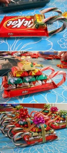 Candy Cane Christmas Gift Sleighs