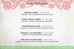 halott – he/she is dead holt – he/she is dead elhunyt – he/she is dead döglött – it is dead (animal) kimúlt – it is dead; it died (animal) elpuszult – it is dead; it died (animal or plant) elment –. Breath In Breath Out, Ancestry, Budapest, Learning, Words, Esl, Languages, Life, Fun Stuff
