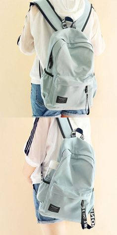 91a555bbe832 Fresh Letters Belts School Bag Young Simple Waterproof Pure Color Travel  Backpack