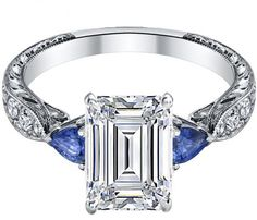Emerald Cut diamond Engagement Ring Blue Sapphire Pear shape side stones Hand engraved White Gold band - ES1103EC