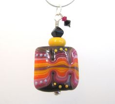 Necklace purple orange pink glass art lampwork beads with
