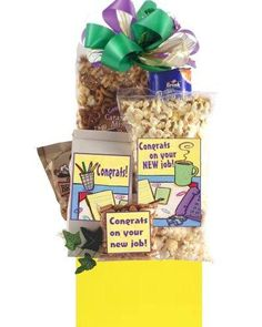 Congratulations on Your New Job Gift Holiday Gift Baskets, New Job Gift, Hors D'oeuvres, New Career, Cool Gifts, Gourmet Recipes, Congratulations, Snacks, Christmas