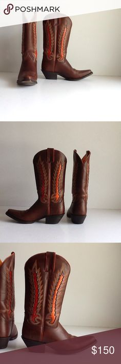 """Frye Western boots. Mid height, mid heel 1.75"""". My rodeo days are over. Worn once a year for many years.  Orange to reddish russet inlay with tan and orange embroidery. See closeup. Light crease at toe and ankle. See sole for all the two steppin' scootin' wear - minor wear at heel. Frye Shoes Heeled Boots"""