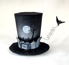 Spooky Tombstones and Bat Mini Top Hat for Halloween or year round gothic fashionistas. SO very Haunted Mansion - love that.