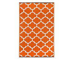 Tappeto in/outdoor in plastica riciclata Tammy, arancione/bianco - 120x180 cm
