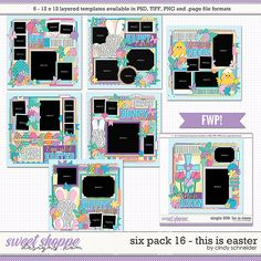 Cindy's Layered Templates - Six Pack This is Easter + FWP by Cindy Schneider Easter Bunny, Easter Eggs, Photo Drop, He Is Risen, Scrapbook Templates, Layout Template, Egg Hunt, Easter Baskets, Digital Scrapbooking