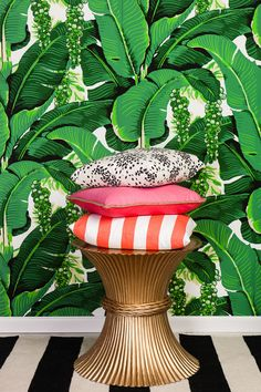Brazilliance by Dorothy Draper, Fireworks Pillow,  Colorblock Linen Pillow Watermelon & Petal, Coral Slub and White Stripe Pillow, Frontier Stripe Rug in Black