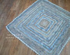 Crochet Baby Boy Blanket baby Afghan - beige gray blue Ready to ship
