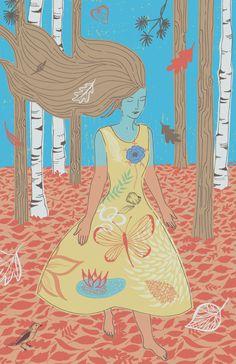 'Meditating Outdoors' by Trina Dalziel - Illustration from United Kingdom